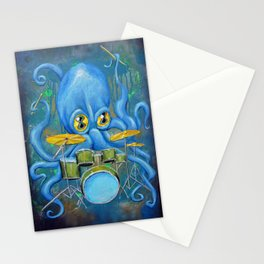 Octopus on Drums Stationery Cards