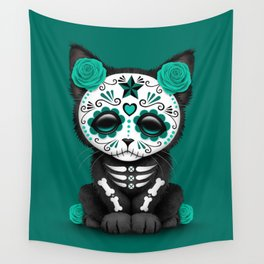 Cute Teal Blue Day of the Dead Kitten Cat Wall Tapestry