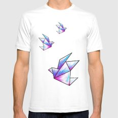 Origami Pastels White MEDIUM Mens Fitted Tee