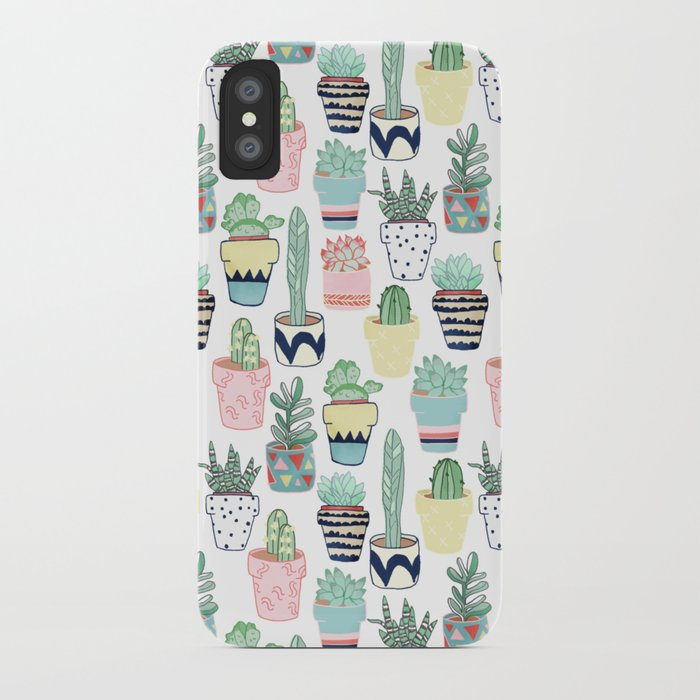 Cute Cacti In Pots Iphone Case By Tangerinetane Society6