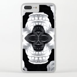 funny skull portrait with roses in black and white Clear iPhone Case