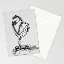 Butterfly Black Ink Drawing Stationery Cards
