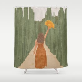 A Way Through the Cactus Field Shower Curtain
