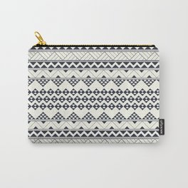Monocromatic Tribal zigzag triangular pattern Carry-All Pouch