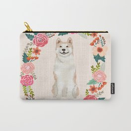 Akita floral wreath dog gifts pet portraits Carry-All Pouch