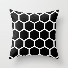 Honeycomb pattern - Black and White Throw Pillow