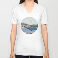 inception V-neck T-shirts featuring Rolling Mountains by AmandaRoyale