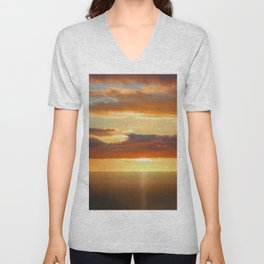 Irish Sea - Heavy Skys (Digital Art) Unisex V-Neck