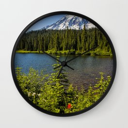 Wildflower Color by Reflection Lake and Mt Rainier, No. 2 Wall Clock