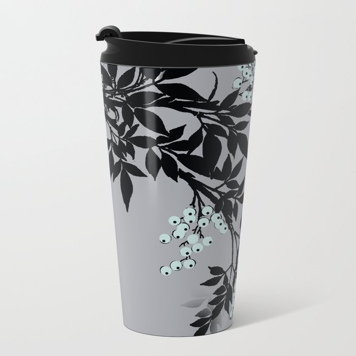 TREE BRANCHES BLACK AND GRAY WITH BLUE BERRIES Metal Travel Mug