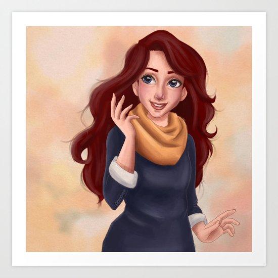 Yellow scarf Art Print