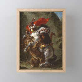 Arab Horseman Attacked by a Lion by Eugène Delacroix Framed Mini Art Print