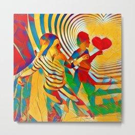 7586s-MM Red Shadow Heart Catch Cherish Set Free Abstract Romantic Love Metal Print