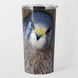 Falco tinnunculus or the common Kestrel Travel Mug