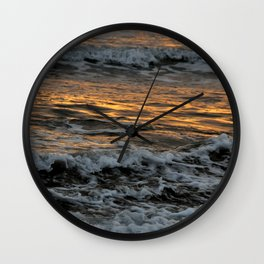 Gold Waves Wall Clock