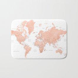 "Rose gold world map with cities, ""Hadi"" Bath Mat"
