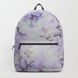 Vintage lavender gray botanical roses floral Backpack