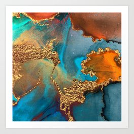 Abstract Blue And Gold Autumn Marble Art Print