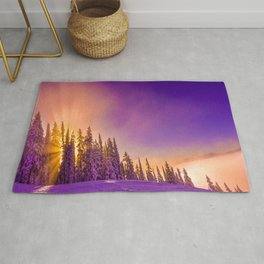 winter mountain sky forest gradient 0278 Rug