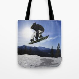 Born To Fly Snowboarder & Mountains Tote Bag