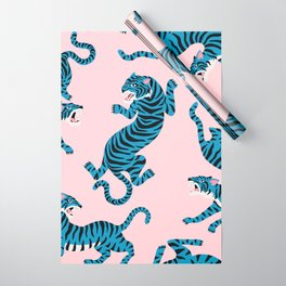 Pastel Pink & Blue Tiger Pattern Wrapping Paper
