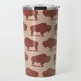 Buffalo Bison Pattern Brown and Beige Travel Mug