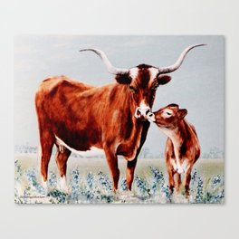 Longhorns painting Canvas Print