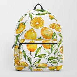 lemon watercolor print Backpack