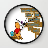 winnie the pooh Wall Clocks featuring Winnie The Pooh by LaLunaBee