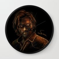 sam winchester Wall Clocks featuring Sam Winchester by Sarah Sangelus
