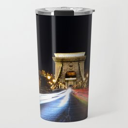 Chain bridge over Danube river, Budapest city, Hungary. Travel Mug