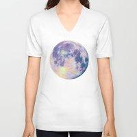 sun and moon V-neck T-shirts featuring Moon by Marta Olga Klara