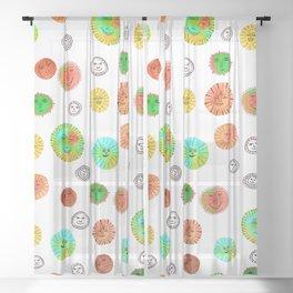 Whimsical Watercolor Suns Circus Colors Sheer Curtain
