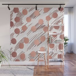 Scratch and Dot abstract minimalist copper metallic art and patterned decor Wall Mural