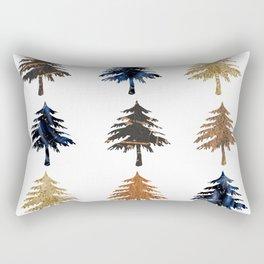 Navy moonlight Christmas trees Rectangular Pillow