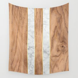 Wood Grain Stripes - White Marble #497 Wall Tapestry