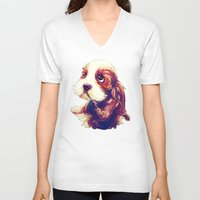 puppy V-neck T-shirts featuring Puppy by Christi Lu