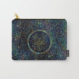 Scorpio Zodiac Gold Abalone on Constellation Carry-All Pouch