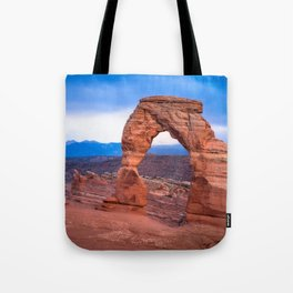 Delicate - Delicate Arch Glows on Rainy Day in Utah Desert Tote Bag
