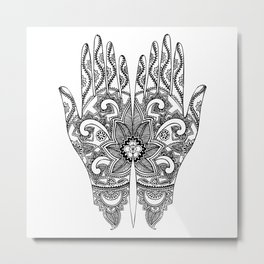 Mehndi Tattoo Hands | Ethnic Tattoos | Henna Tattoos | Tattoo Art | Black and White | Metal Print