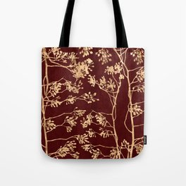 Gold branches on red Tote Bag