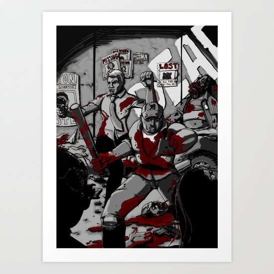 Zombie Rush (Gray Tone Version) Art Print