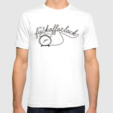 fuckoffo'clock MEDIUM White Mens Fitted Tee