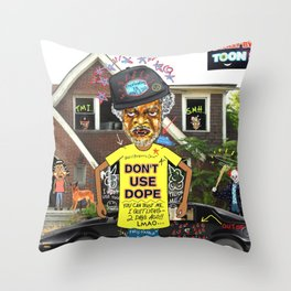 Uncle Freeloaders Life Story Remixed Throw Pillow