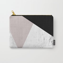 Pink, Black and Marble Geometric Carry-All Pouch