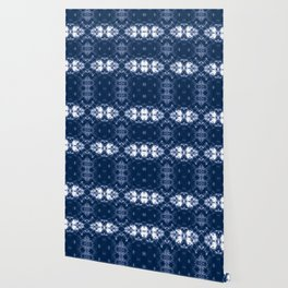 Shibori Tie Dye 1 Indigo Blue Wallpaper