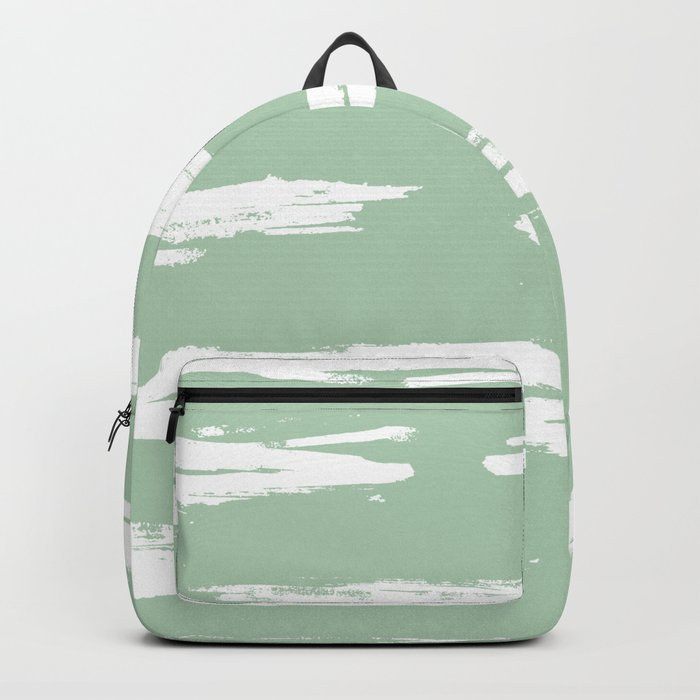 Swipe Stripe White on Pastel Cactus Green Backpack