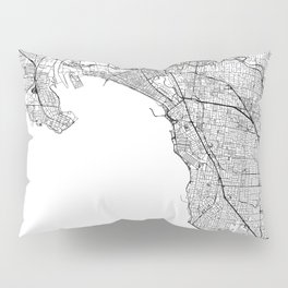 Melbourne White Map Pillow Sham