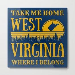 West Virginia State Map Country Roads WV Home Pride Retro Print Metal Print
