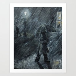 Trudging in the Rain Art Print